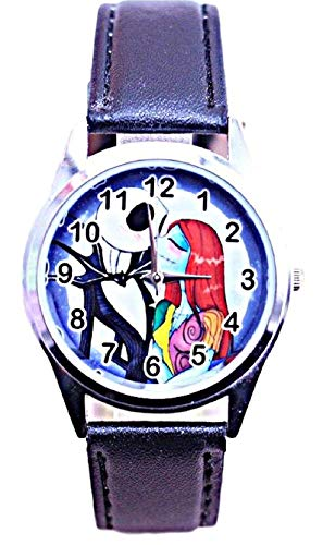 New Horizons Production Nightmare Before Christmas Jack and Sally Black Leather Band Wrist Watch