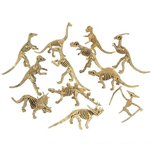 Rhode Island Novelty Assorted Dinosaur Fossil Skeleton 6-7 Inch Figures, 12-Piece