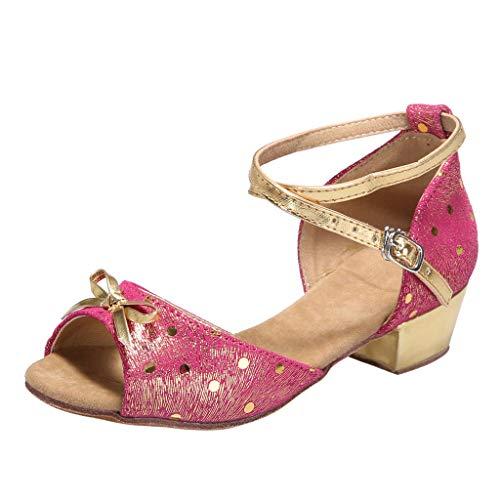 Zapatos de Baile para Mujer Zapatos de Vestir Elegantes de Verano Fiesta de Baile Tacones Altos Zapatos de Baile Latino Sandalias con Lazo Abierto Zapatos CóModos de Suela Suave Dorado Rojo 34-40 EU