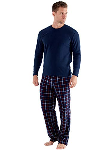 SaneShoppe Maglietta Termica da Uomo, Pantaloni in Pile Polare a Quadri Blu Scuro Set Pigiama Caldi-M