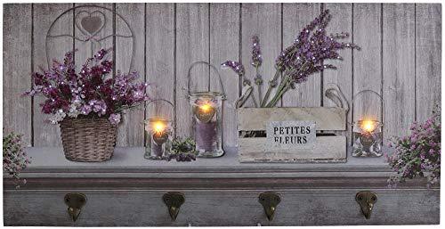 Wandbild Lavendel mit LED 60 cm Dekobild Küchenbild Bild mit Haken Wanddeko LED-Bild