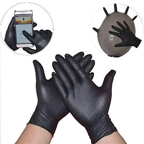 DXMYB 100 Piezas Desechables de Goma Negro Ding Qing Guantes médicos, Libre de látex, Libre de Polvo, cómodo, para el hogar de Limpieza, Maquinaria y diversas Industrias,XL