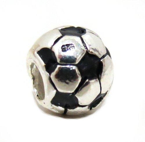 Charm in argento 925 con ciondolo a forma di pallone da calcio, compatibile con braccialetti e collane originali Pandora, EvesErose, Chamilia, Troll, Biagi,