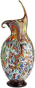 Color Wave - Jarrón - Cristal de Murano Millefiori y Plata