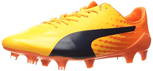 PUMA Men's Evospeed 17 Firm Ground Sneaker, Ultra Yellow-Peacoat-Orange Clown Fish, 12.5 M US