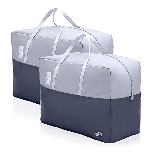 75L Clothes Storage Bags with Zips, 2 PCS 600D Oxford Cloth Duvet Storage Bag King Size, Breathable Underbed Storage Bags for Clothes, Quilt, Blankets, Bedding, Sturdy Large Storage Bags, No-Smell