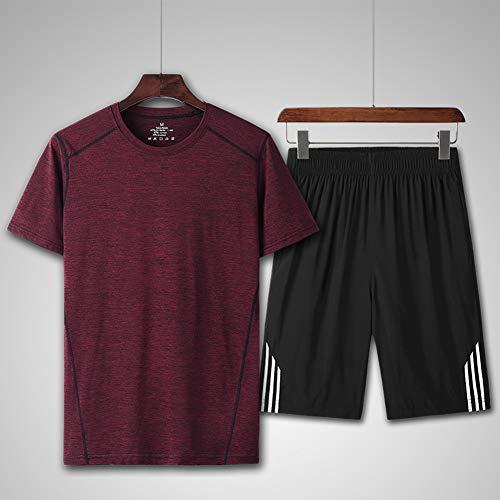 LIXIAOLAN Sommersport Anzug Marathon Joggen Sportler Abnutzung Jersey Gym Fitness Atmungs Quick-Dry Männer Sportbekleidung,C,3XL