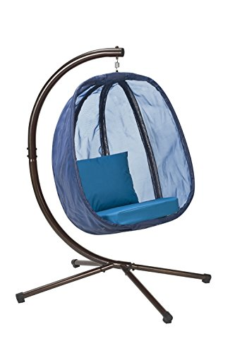 Flower House FHEC100-BL Egg Chair with Stand, Blue