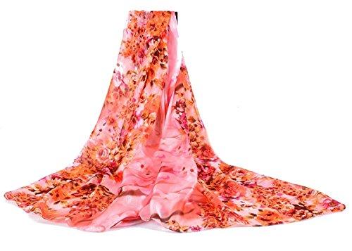 Dames Grote Ontwerp Zijde Gelegenheid Avond Dag Sjaal Fuchsia Hot Roze Bloemen