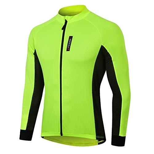 MEETWEE Herren Radtrikot, Langarm Fahrradtrikot Reißverschluss Fahrradbekleidung Radshirt Fahrradshirts für Männer, Atmungsaktive Cycling Jersey Schnell Trocknen Radsport Bekleidung