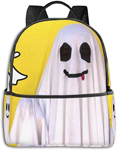 Mochila Escolar de Gran Capacidad, Mochila para Camping, Picnic, Bicicleta, diseño de Tigre japonés, Vuelta a la Escuela Funny Ghost Yellow One_Size