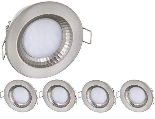5er Pack - LED Feuchtraum IP54 Einbaustrahler 230V - 5 Watt - 460 Lumen - Aluminium-Druckguss - Lochkreis Ø68mm - tagesweiß (4000 K)