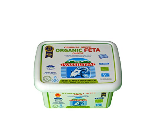 Vassilitsa BIO Feta in Salzlake - 5x 400gramm Behälter - BIO Fetakäse BIO Schafkäse BIO griechischer Feta Schafskäse 43% Fett i.Tr. aus Griechenland Plastikbehälter glutenfrei Halal biologisch