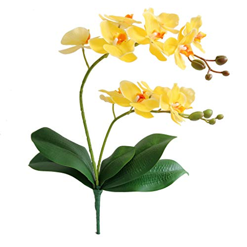 Jasming Artificial Phaleanopsis Flowers Fake Orchids Leaves Branches for Home Bonsai Garden Decoration (Yellow)