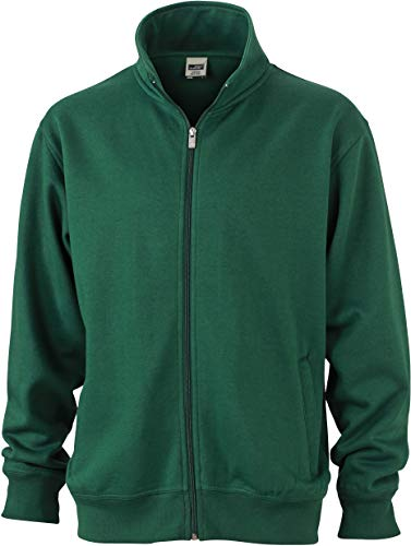 James & Nicholson Workwear Sweat Jacket Sudadera, Verde (Dark-Green), Extra-Small para Hombre