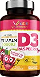 Kids Vitamin D3 1000 iu High Strength - Chewable Raspberry Flavour Vitamin D for Kids 4-12 Years, Vegan Society Registered Tablets not Gummies - 2 Months Supply - Made in The UK by YrHealth