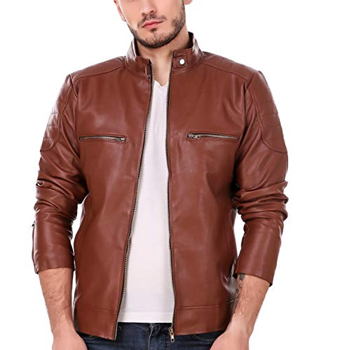 Leather Retail Men's Faux Leather Solid Biker Jacket (Tan Brown, 3XL)