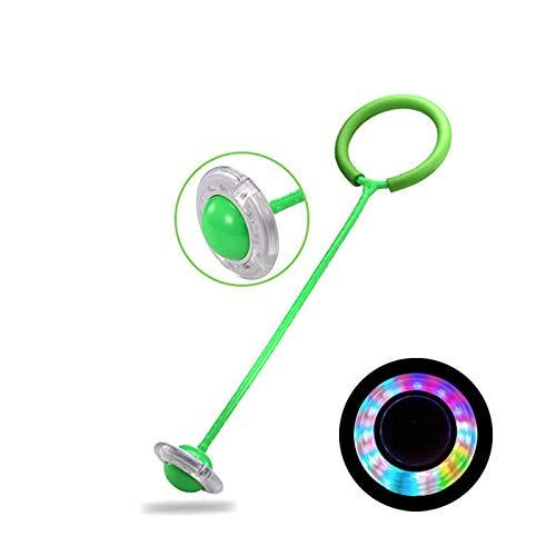 Preisvergleich Produktbild ZZX Knöchel Skip Ball Sport Swing Ball Kinder Led Flash Springring Tanzball Glühende Fitness Lernspielzeug Lustiges Spiel Outdoor-Sport, B-Green