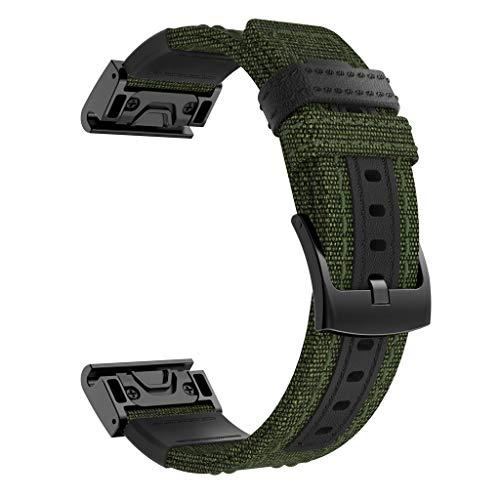 Neubula - Correa de repuesto de tela compatible con Garmin Fenix 5X / 5X Plus/Fenix 3/3 HR, ajustable, repuesto de correa de repuesto para hombres y mujeres verde verde