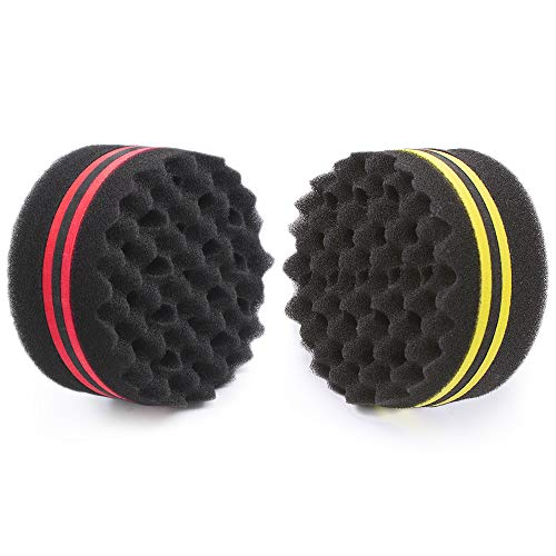 ORIY Small and Big Hole Hair Sponge for Twist Dreads Locking Afro Curl Brush Barber 2 PCS