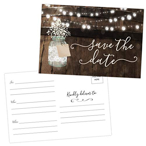 50 Rustic Mason Jar Save The Date Cards for Wedding, Engagement, Anniversary, Baby Shower, Birthday Party, Wood Save The Dates Postcard Invitations