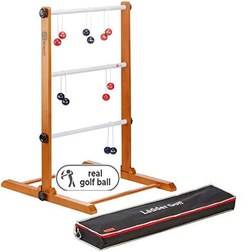 Profi Original Ladder Golf - Leitergolf Spiel aus den USA, aus massivem Hartholz, mit echte Golf-bolas