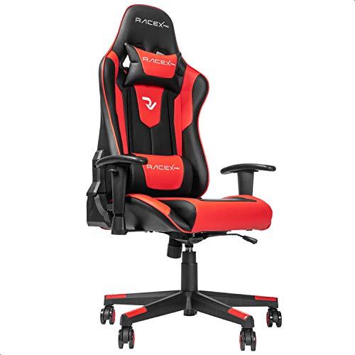 RIGHT TECHNOLOGY Silla de gaming, silla de oficina, silla de gamer, silla ergonómica, reposabrazos ajustable, marco de acero de una pieza, ángulo de inclinación ajustable, negro/rojo