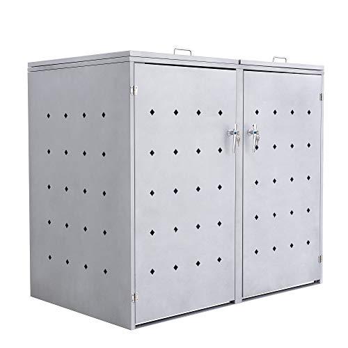 Zelsius Mülltonnenbox für 2 Mülltonnen je 120 und/oder 240 Liter I Mülltonnenverkleidung mit 2 Klappdeckel I Metall Müllbox Design Rhombus Cement I abschließbar