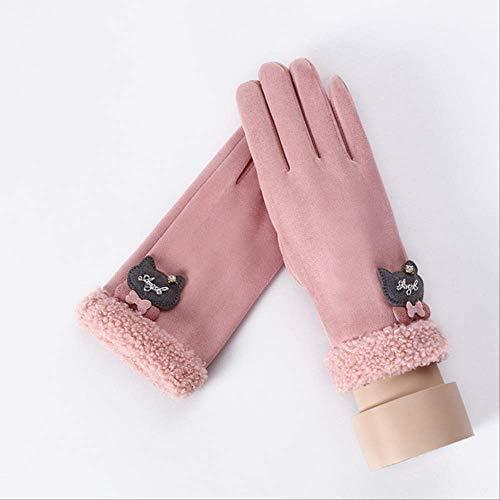 AMZIJ GlovesWinter Female Single Layer Plüsch Handgelenk Warm Cashmere Vollfinger Handschuhe Damen Wildleder Touchscreen HandschuheB Pink