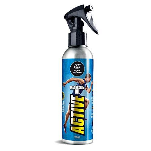 Zechstein Magnesium Spray Aktiv 125 ml - Magnesiumöl von Organic Magnesium | PUR | Perfekt für Sport & Muskelentspannung | Flüssiges Magnesiumchlorid Öl Konzentrat | Natürlich & Rein