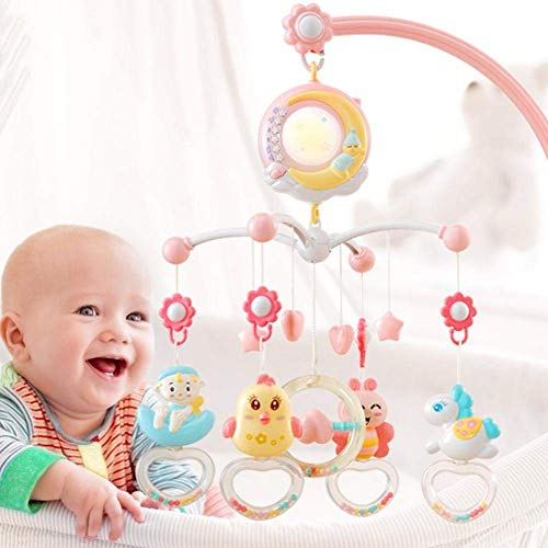 KDDD Suave Juguetes Musicales para Camas de bebé con Luces y música, proyector de Estrellas para bebé, proyector Giratorio Colgante para cronometraje con Campanas