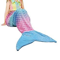 Catalonia Meerjungfrau Decke für Kinder Mädchen Erwachsene Meerjungfrauen Flosse Kuscheldecke Sofa Decken alle Jahreszeiten Schlafsack Fleecedecke zu hause outdoor, Ideal Geschenke, 155 x 48 cm