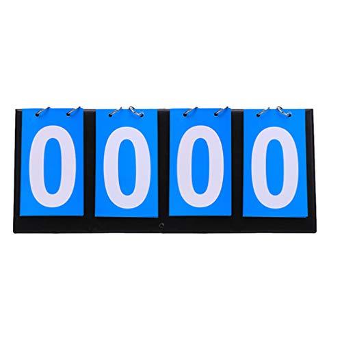 Aigend Sports Scoreboard 4 Digit-Red+Blue Portable Flip Scoreboard Sports Competition Score Counter for Table Tennis Basketball