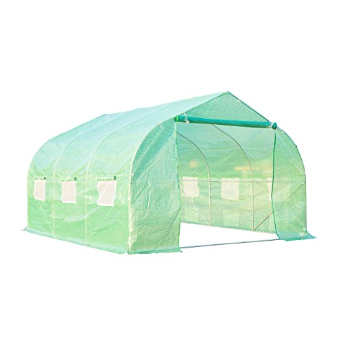 Outsunny 12' x 10' x 7' Portable Walk-In Garden Greenhouse – Deep Green