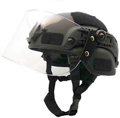 Hotour Casco Mich 2000 Leggero e Veloce con Visiera Parasole Trasparente per Airsoft Paintball CS War Games Sport all'Aria Aperta.