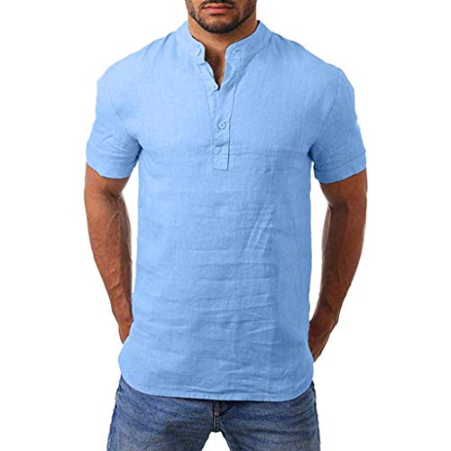 Men Henry Short Sleeve Slim Solid Linen Shirts Male Casual Business Fit Blouse Blue