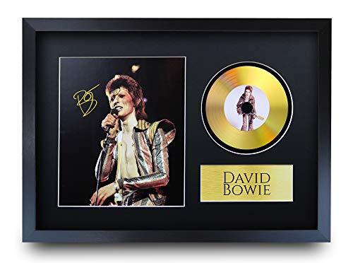 HWC Trading A3 FR David Bowie Ziggy Stardust Geschenke Autogramm Bild mit einem Gold-Disk-Image-Druck für Music Memorabilia Fans Signed - A3 Eingerahmt