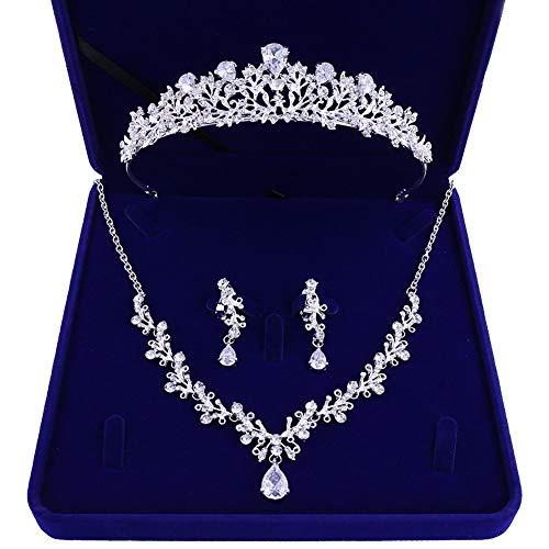 MoGist Bridal Wedding Jewelry Set Rhinestone Tiara Necklace Earrings Bride Hair Accessories Tiaras Earrings Necklace Wedding Sets Including Gift Box (Style 4)