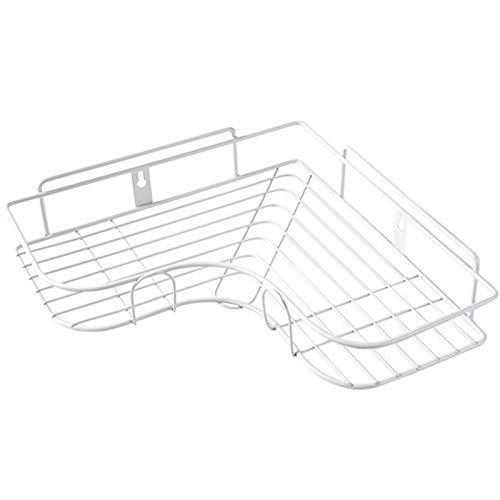 AFKK Baño Estante, con Ganchos Autoadhesivos Hierro Sin Perforación Cesta De Almacenamiento Montada En La Pared para Baño Cocina Aseo,Blanco