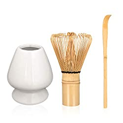 ☕Impressive Tea Experience: These matcha start-up kit include all the accessories will need to make delicious matcha and experience the wonderful of the Tea Ceremony. Bamboo Matcha Tea Whisk, Whisk Stand Holder, Scoop. Enjoy the experience of making ...