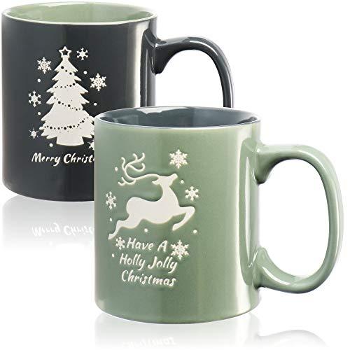 com-four® 2X XL Kaffeetasse mit weihnachtlichem Motiv - Kaffeebecher groß - Weihnachtstasse spülmaschinengeeignet, ca. 620ml