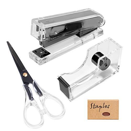 Clear Black Acrylic Stapler Tape Dispenser Scissors Set with Tape N 950Pcs 24/6 Rose Gold Staples, Heavy Duty Acrylic Stationery Desk Set School Home N Office Supplies ( Black)