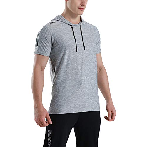 Hombres Deportes Manga Corta Corriendo Sudaderas con Capucha Gimnasio Camisetas Culturismo Tops