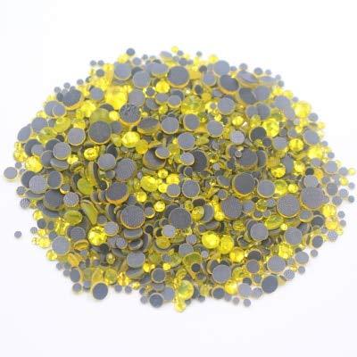 Astonish 2500pcs Mix Größe Strass Shiny Crystals Strass Fest Kleber Zurück Glaskristall-Fabric Crafts Hotfix Strasssteine ??für Kleidung: Citrin, 1000PCS