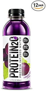 Protein2o Low-Calorie Protein Infused Water, 15g Whey Protein Isolate, Harvest Grape (16.9Ounce,Pack of 12)