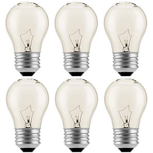 (6Pack)Appliance Oven Refrigerator Bulbs Appliance Light Bulb High Temp  120v Clear E27/E26 Medium Base40 WattOven Light Bulb  G45