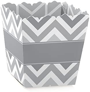 Chevron Gray - Party Mini Favor Boxes - Baby, Bridal Shower or Birthday Party Treat Candy Boxes - Set of 12