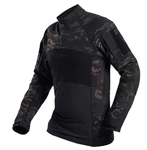 SGOYH Paintball Herren Camo Langarm T-Shirt Taktische Airsoft Shirts mit Taschen für Schießen Jagd Airsoft War Game (XXXL,BK-Camo)