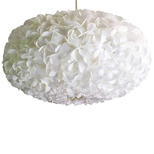 White Fluffy II, Höhe ca. 21cm, Ø 42cm, Papierlampe Hängelampe Lampe Lampenschirm Pendellampe Designerlampe Deckenlampe Leuchte weiß AUS PAPIER + Lampenfassung E27 für LED Glühbirne