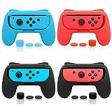 FASTSNAIL Juego de 4 empuñaduras compatibles con Nintendo Switch Joy-Con, controlador de agarre resistente al desgaste compatible con Joy-con con 12 pulgares (negro azul y rojo)